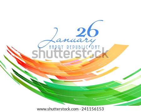 26 January, Indian Republic Day celebration with national flag colors on white background. - stock vector