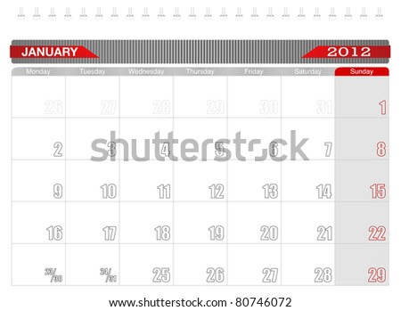 2012 January -Planning Calendar,Week starts on Monday. - stock vector