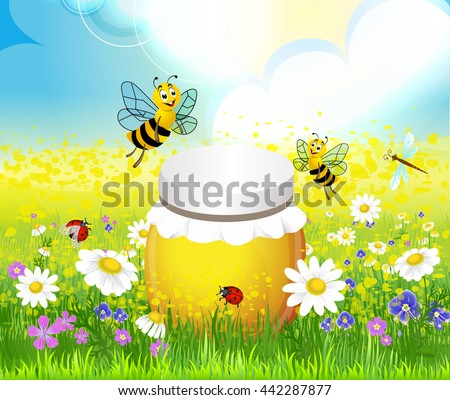 jar of honey in a meadow with bees and flowers - stock vector