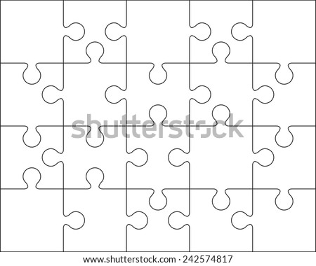 20 Jigsaw puzzle blank template or cutting guidelines : 4:5 ratio - stock vector