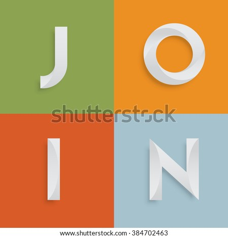 'JOIN' four-letter-word for websites, illustration, vector - stock vector