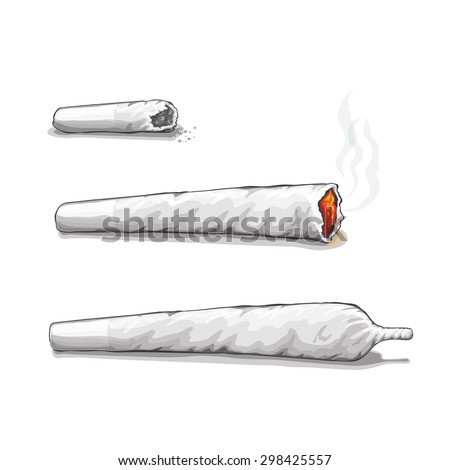 joint or spliff. Drug consumption,  marijuana and smoking drugs. Vector - stock vector