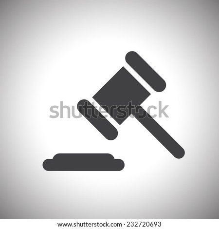 judge or auction hammer icon - stock vector