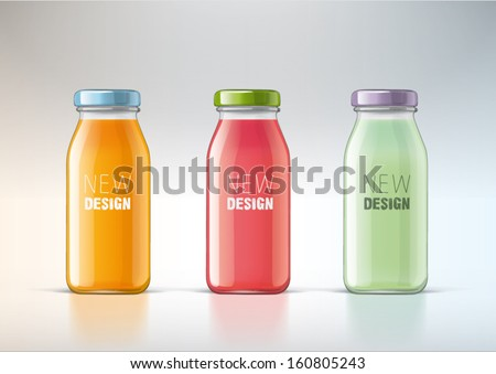 juice in a glass bottle for new design - stock vector
