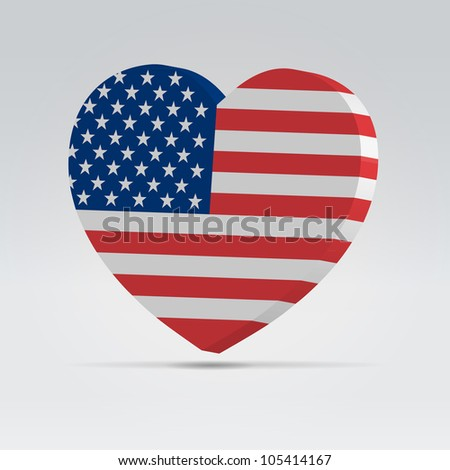 4 july celebration badge with big heart american flag - stock vector