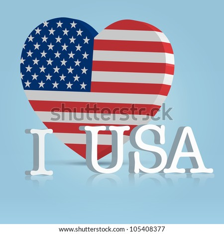 4 july celebration badge with big heart american flag and letters - stock vector