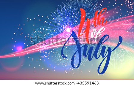 4 July USA fireworks greeting card. United States of America Independence Day national holiday card design. Festive US Flag background wallpaper. - stock vector