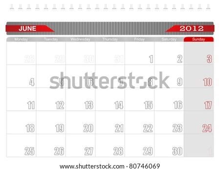2012 June-Planning Calendar, Week starts on Monday. - stock vector