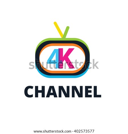 4K channel logo,Video logo template - stock vector