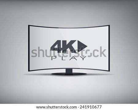 4k Curved screen smart tv in modern ultra hd resolution with streaming symbol. Eps10 vector illustration. - stock vector
