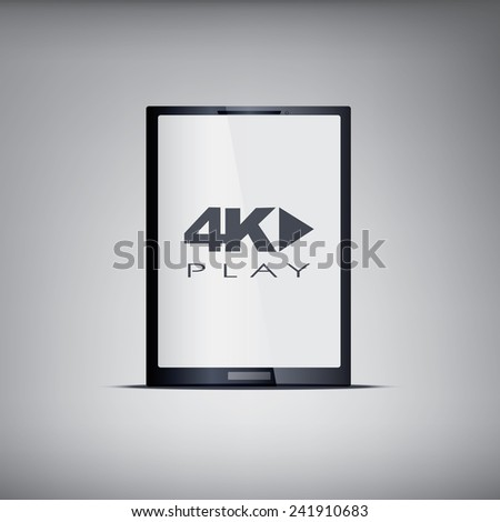 4k screen tablet with modern ultra hd resolution. Eps10 vector illustration - stock vector