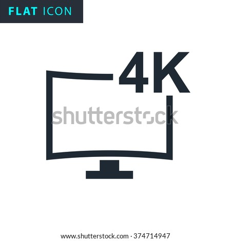 4k tv icon - stock vector
