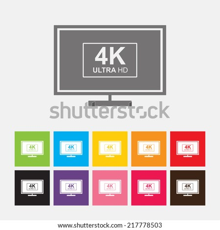 4K UltraHD TV or computer PC monitor display icon - Vector - stock vector