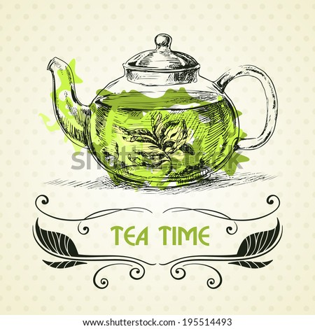 Kettle green tea. Hand drawn sketch illustration. Menu ...