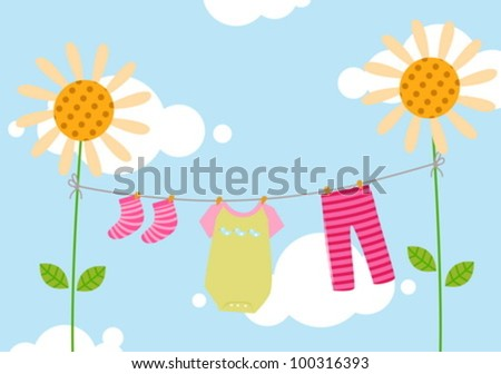 kids clothesline - stock vector