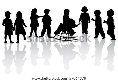 Kids silhouettes - stock vector