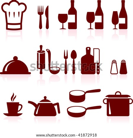 kitchen supplies and cooking design elements - stock vector