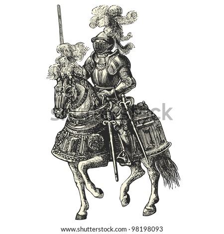 """Knight on his horse - vintage engraved illustration - """"Dictionnaire encyclop�©dique universel illustr�©"""" By Jules Trousset - 1891 Paris - stock vector"""