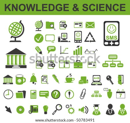 50 Knowledge Icons - stock vector