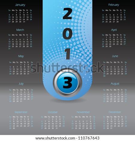 2013 label calendar design with dark background - stock vector