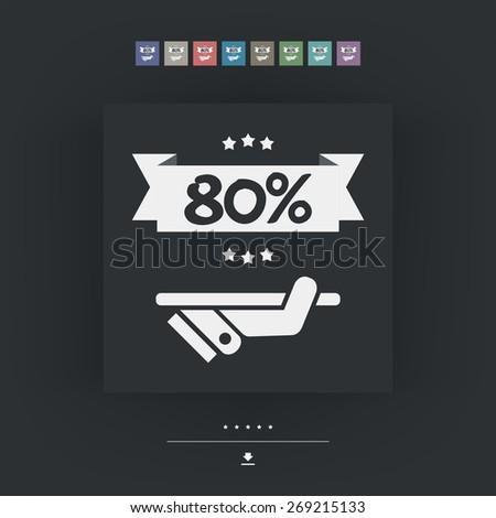 80% Label icon - stock vector