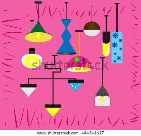 Lamps isolated vector electrical design and table lamps bulb isolated. Lamps isolated interior, design and bright equipment desk lamps isolated. - stock vector