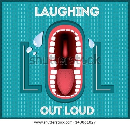 Laughing Out Loud - LOL popular expression illustrated - stock vector