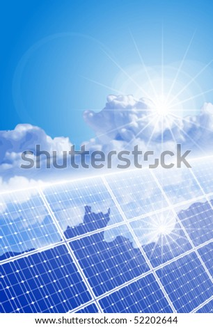 Ð¡lear sky, bright sun and solar panel with reflection of clouds. Eps10 - stock vector