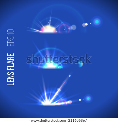 3 lens flare icons for your designs - stock vector