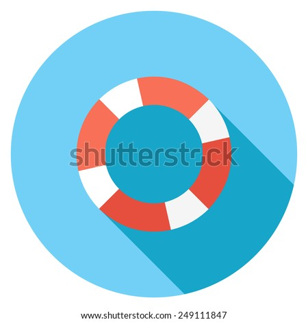 Lifebuoy flat icon. Modern flat icons with long shadow effect in stylish colors. Icons for Web and Mobile Application. EPS 10. - stock vector