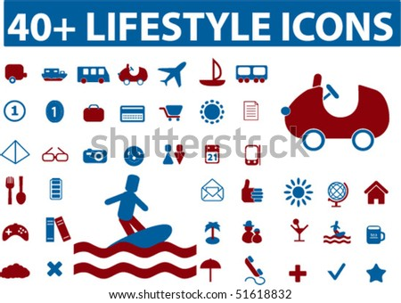 40+ lifestyle icons. vector - stock vector