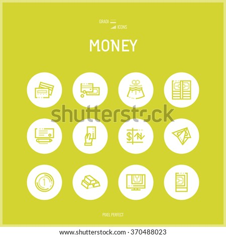 Line colorfuul icons set collection of Money and Banking - stock vector