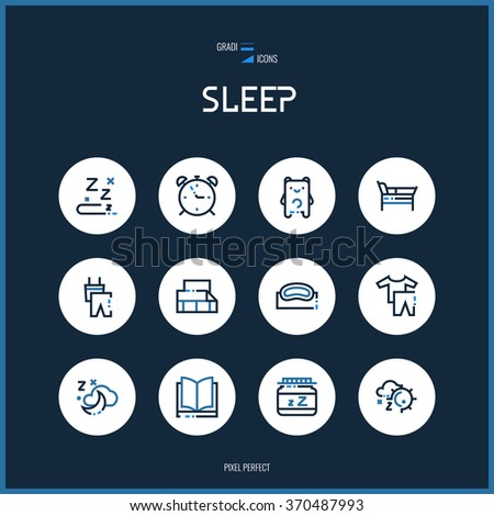 Line colorfuul icons set collection of sleeping signs for design. - stock vector