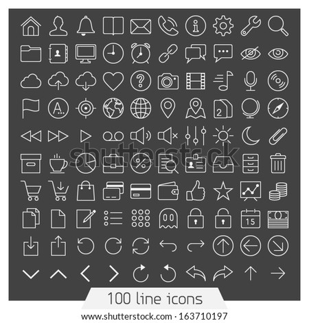 100 line icon set. Trendy thin and simple icons for Web and Mobile. Dark version - stock vector