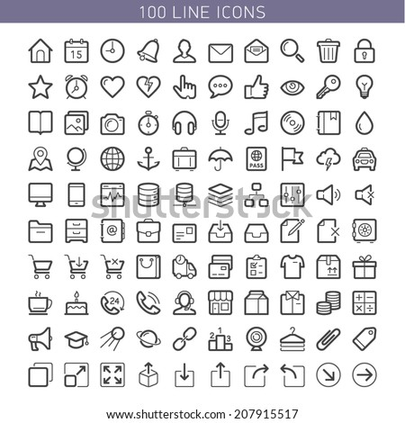 100 line icons for Web and Mobile. Light version - stock vector