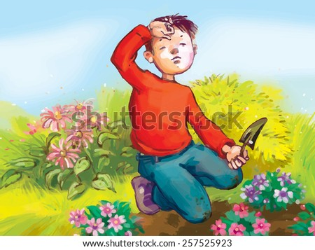 Little Gardeners planting flowers. Children illustration. VECTOR. Great illustration for children book and magazine, advertising, fliers and more. - stock vector