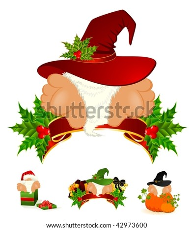 little nice santa Claus in a red cap - stock vector