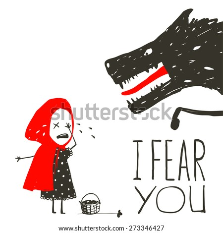 Little Red Riding Hood Crying and Black Scary Wolf. Illustration for the fairy tale, scary wolf and a child. Sketchy artistic drawing. Vector illustration. - stock vector