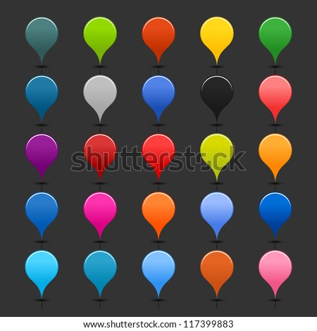 25 location mapping pins sign web map icon. Blank buttons painted in popular colors. Circle shape on gray background. New contemporary simple style. Vector illustration internet design element 8 eps - stock vector