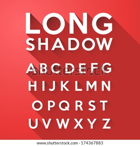 Long flat shadow alphabet on red background - stock vector