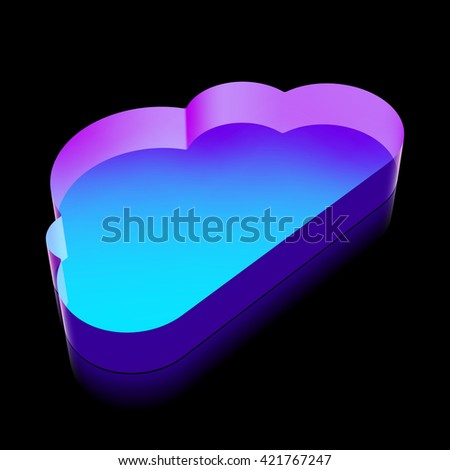 ?loud technology icon: 3d neon glowing Cloud made of glass with reflection on Black background, EPS 10 vector illustration. - stock vector