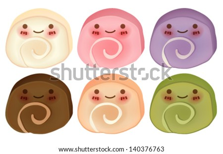 Lovely Cake Roll Collection - Vector FIle EPS10 - stock vector