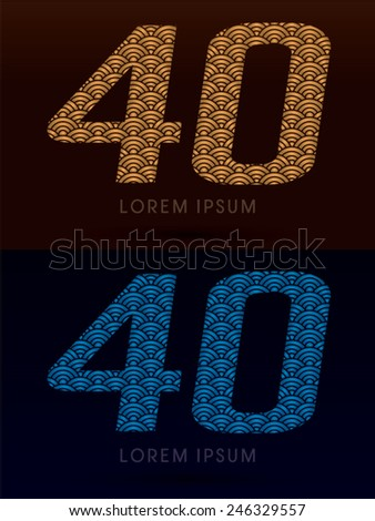 40 ,Luxury font ,designed using gold and blue bold  line, concept shape from water, river, sea, ocean, fish scale, logo, symbol, icon, graphic, vector. - stock vector