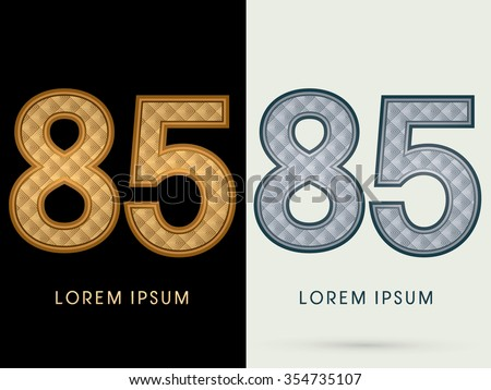 85 Luxury Font designed using gold and silver geometric pattern graphic vector. - stock vector