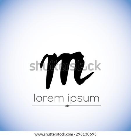 M letter calligraphic hand drawn logo (sign, symbol, icon) - stock vector