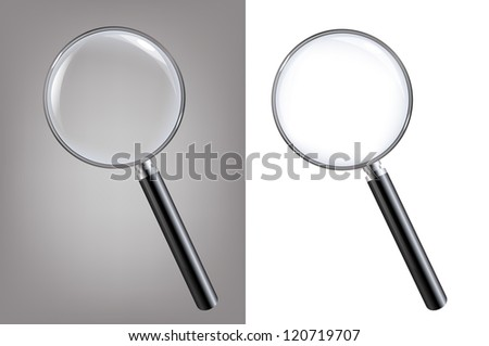 2 Magnifiers, Isolated On White Background With Gradient Mesh, Vector Illustration - stock vector