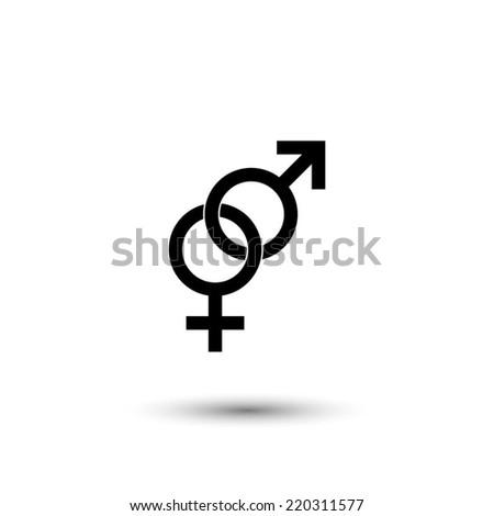 Male and female sex symbol - black vector illustration - stock vector