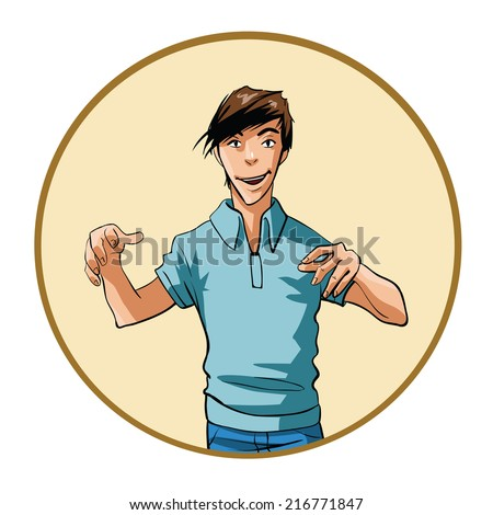 Man with an intense expression and hands raised - stock vector