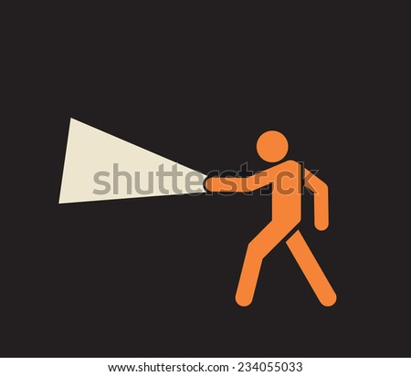 man with flashlight - search on the dark  - stock vector