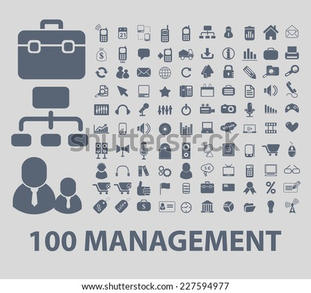 100 management icons set, vector - stock vector